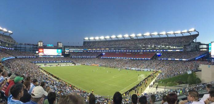 Gillette Stadium, Foxborough, MA, pictured during a professional soccer game. (Daniela Marulanda/ The Daily Campus)