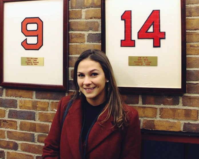 Molly Burkhardt looks back on her last four years at the Daily Campus in her senior column. Here, the author is pictured at Fenway Park, one of her favorite places. (Photo courtesy of Molly Burkhardt)