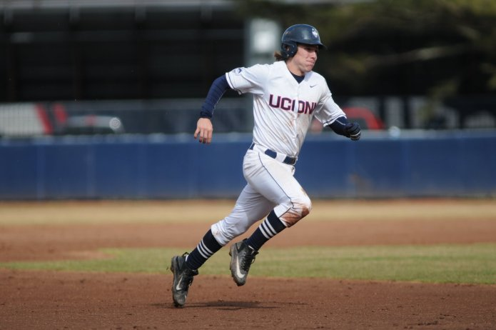 UConn Huskies third baseman Willy Yahn rounds the bases after a hit in the Huskies' 6-2 win over the Memphis Tigers on April 7, 2017. (Tyler Benton/The Daily Campus)