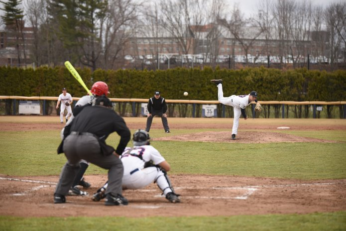 UConn pitcher Ronnie Rossomando delivers a pitch during a game against Hartford on April 6 at J.O. Christian Field in Storrs. (File Photo/The Daily Campus)