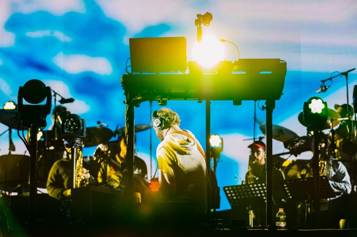 Bon Iver performs during a light rain at the Boston Calling music festival on Saturday, May 27, 2017. (Photo courtesy 44 Communications)
