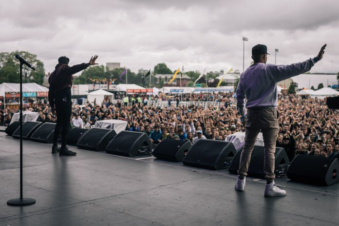 """Frances Farewell Starlite (left) performs """"May I Have This Dance"""" with Chance the Rapper (right)performs at the Boston Calling music festival on Saturday, May 27, 2017. (Photo courtesy 44 Communications)"""