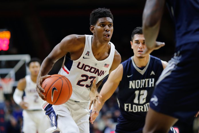 UConn' Juwan Durham drives to the hoop against North Florida in an 80-59 win at Gampel Pavilion on Dec. 18, 2016.(Jackson Haigis/The Daily Campus)