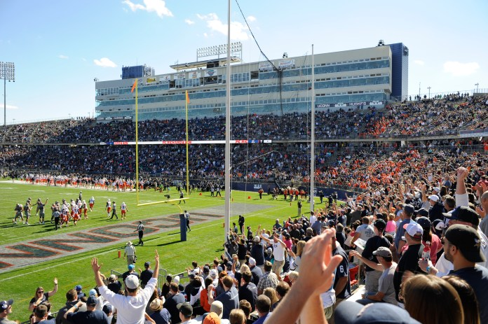 The student section cheers during the Huskies loss to Syracuse on Sept. 24, 2016 at the Rent. Football returns to the Rent on Thursday, Aug. 31, 2017. (Jason Jiang/The Daily Campus)