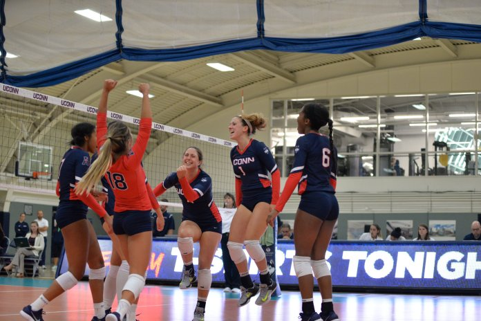 The volleyball team won the first game of the Dog Pound Challenge 3-0 in a match versus Iona on Friday, September 1 at 12:30 p.m. Photo by Olivia Stenger, Photo Editor/Daily Campus
