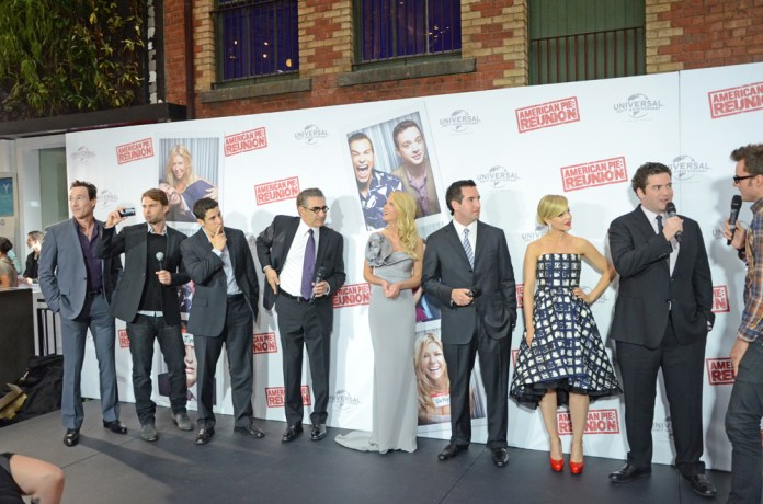 """The cast of """"American Pie"""" at a reunion in Melbourne, Australia in March 2012."""