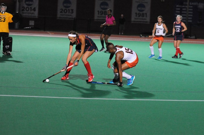 Charlotte Veitner with possession against Pacific on Friday (Jon Sammis/The Daily Campus)