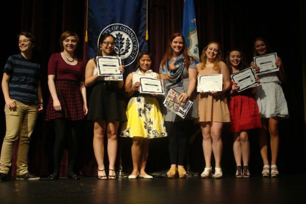 Students receiving awards for their published written works (Courtesy/Connecticut Writing Project)
