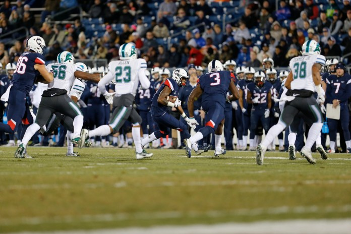 The Huskies take on Tulane at Pratt and Whitney Stadium Saturday, Nov. 26, 2016. The Huskies had a rough game, losing at the half 24-0. Although they rallied in the second half, it wasn't enough for the win with a final score of 38-13. (File Photo/The Daily Campus)
