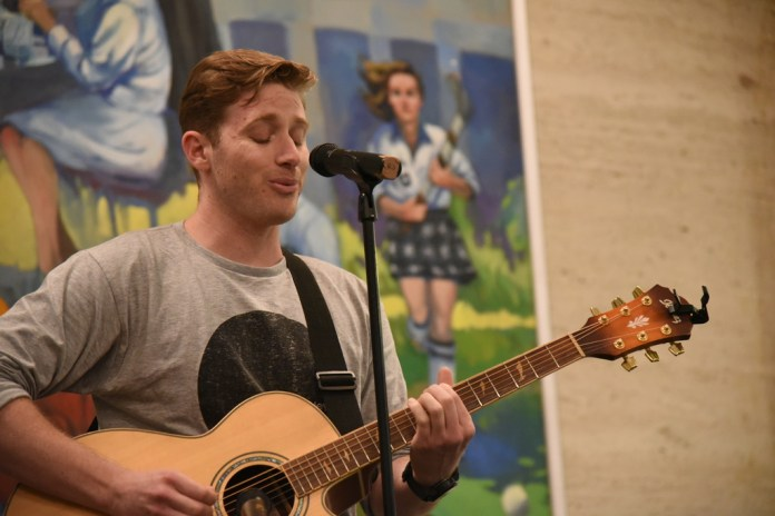 SUBOG hosted a open mic night in the North Lobby of the Student Union. There were music acts and stand up comedy.(Daily Campus/Charlotte Lao)