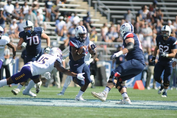 Arkeel Newsome was dynamic in UConn 41-38 loss on Sunday. (Jon Sammis/The Daily Campus)
