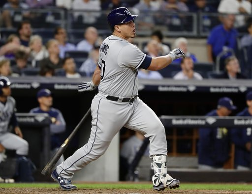 Tampa Bay Rays' Wilson Ramos watches a two-run home run during the fifth inning of a baseball game against the New York Yankees on Thursday, Sept. 28, 2017, in New York. (AP Photo/Frank Franklin II)