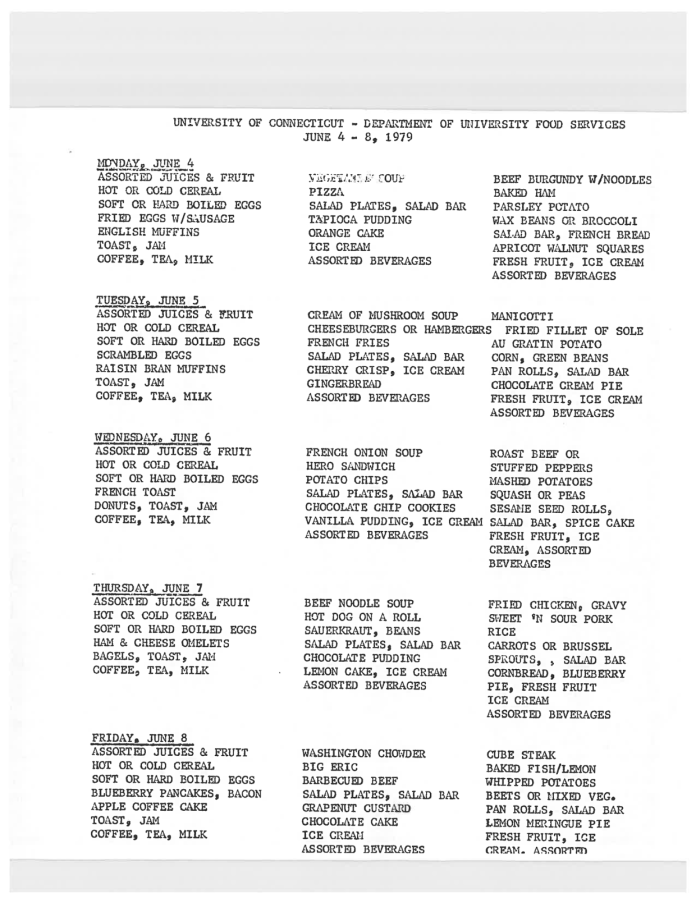 The dining hall menu from 1978 that Pierce found shows that most meals consisted of a single entrée, a handful of sides, a pre-plated salad, and desserts.(File/Campus Archives)