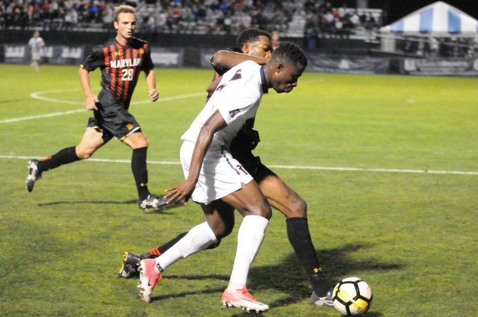 After getting a goal called back for an offside run in the 17th minute, Maryland (8-0-3, 3-0-2 Big Ten) broke through with the game's opening goal in the 27th minute. Gordon Wild made a fantastic pass to find Eryk Williamson in space in the box, and Williamson calmly slotted the goal past Huskies goalie Scott Levene into the bottom left corner. (Jon Sammis/The Daily Campus)
