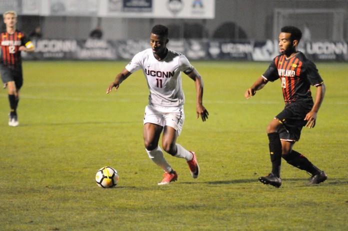 Abdou Mbacke Thiam (pictured) scored UConn's lone goal in their win against Cincinnati. (Jon Sammis/The Daily Campus)