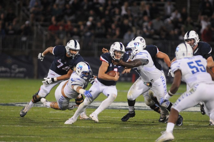 UConn took on Memphis on Friday, October 6 at Rentschler field.The Huskies fell to the Tigers with a final score of 70-31. (Olivia Stenger/ The Daily Campus)