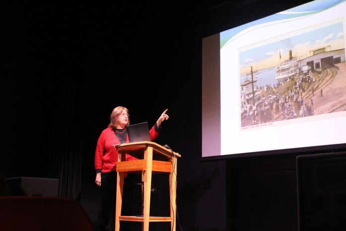 """UConn journalism professor Gail MacDonald hosts a talk, Q&A and book signing on her book, """"Morton F. Plant and the Connecticut Shoreline"""" in UConn bookstore in Storrs Center on Wednesday evening. (Ryan Murace/The Daily Campus)"""