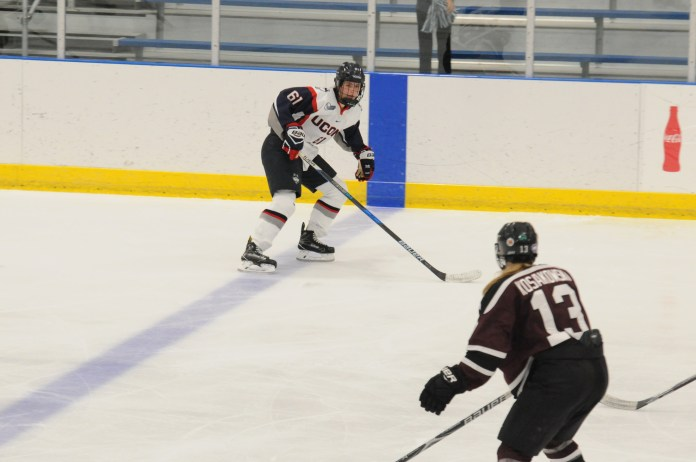 UConn faces off against Union on Friday Oct. 17 at Freitas Ice center. The Huskies came in full force, shutting out the opposition 5-0. (Jon Sammis/The Daily Campus)