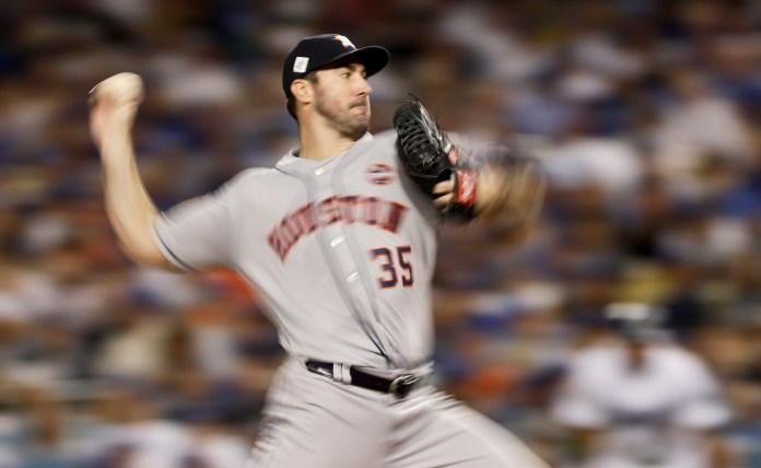 Houston Astros starting pitcher Justin Verlander throws Los Angeles Dodgers during the fifth inning of Game 2 of baseball's World Series Wednesday, Oct. 25, 2017, in Los Angeles. (Matt Slocum/AP)
