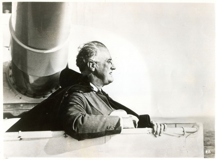Franklin D. Roosevelt reviews the Pacific Fleet from aboard the USS Houston. San Francisco Bay, July 14, 1938. On Nov. 7, 1944, Franklin D. Roosevelt won his fourth consecutive presidential election. (FDR Presidential Library & Museum/Flickr Creative Commons)