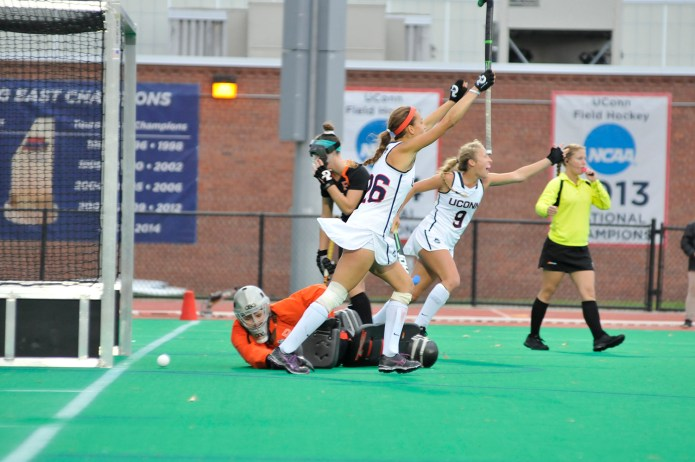 Charlotte Veitner (#26) celebrates after a goal. Veitner and goaltender Nina Klein have been very impressive in their time at UConn. (Jason Jiang/The Daily Campus)