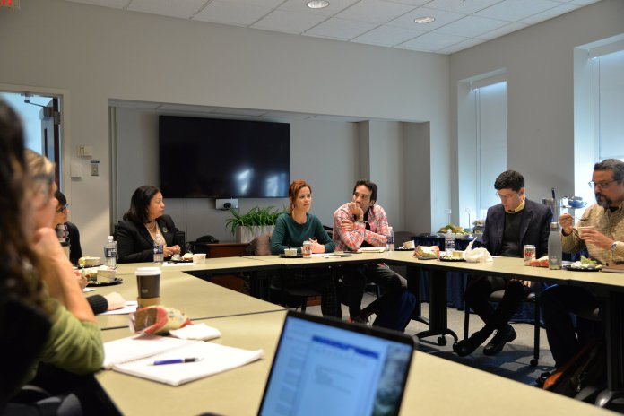Ariadna Godreau, human rights lawyer and community activist, Universidad del Sagrado Corazon leads a round table discussion about how how Puerto Rico can recover from it's debt crisis in today's current world in the Dodd Center on Tuesday, Nov. 28, 2017. (Amar Batra/The Daily Campus)