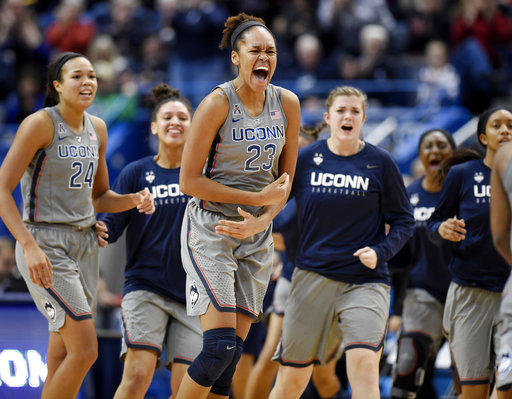 Connecticut's Azura Stevens, center, reacts during the second half an NCAA college basketball game against Notre Dame, Sunday, Dec. 3, 2017, in Hartford, Conn. (AP Photo/Jessica Hill)