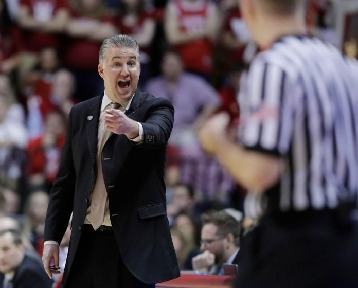Purdue head coach Matt Painter argues a call during the second half of an NCAA college basketball game against Indiana, Sunday, Jan. 28, 2018, in Bloomington, Ind. Purdue won 74-67. (Darron Cummings/AP)