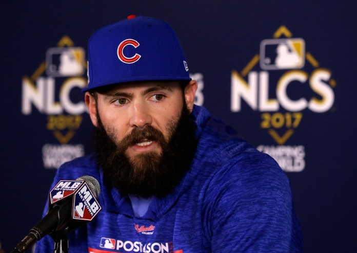 In this Oct. 17, 2017, file photo, Chicago Cubs' Jake Arrieta talks during a news conference before Game 3 of baseball's National League Championship Series against the Los Angeles Dodgers, in Chicago.(AP Photo/Charles Rex Arbogast, File)