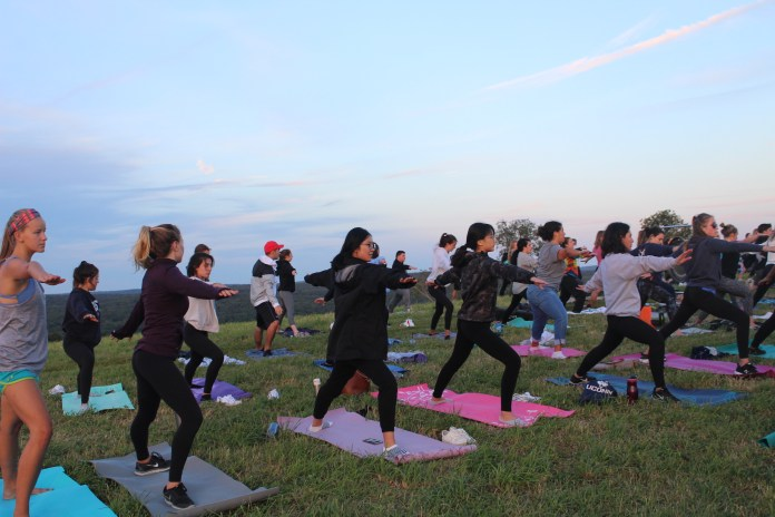 Students participate in Sunset Yoga at Horsebarn Hill on Friday, Sept. 1. The event was hosted by Counseling and Mental Health Services. (Kimberly Nguyen/The Daily Campus)