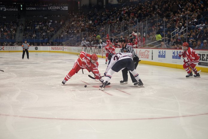 The UConn Huskies men's hockey team lost 2-1 to Boston University Saturday March 10, meaning its season ends in the Hockey East quarterfinals.(Jon Sammis/The Daily Campus)