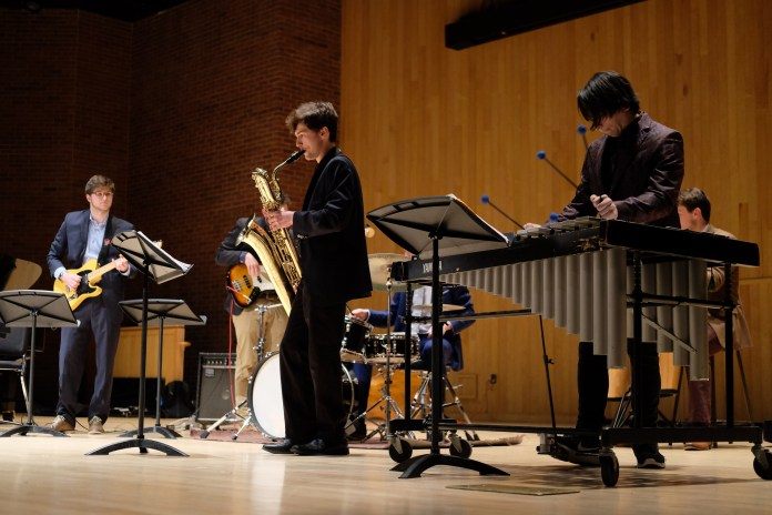 """UConn Jazz Combos transformed von der Mehden Recital Hall into a New York-style jazz club and brought listeners back to the """"Swingin' Sixties"""" Thursday night. (Jon Sammis/The Daily Campus)"""