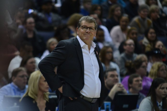 UConn women's basketball head coach Geno Auriemma looks off into space in the Huskies' 91-89 loss to the Notre Dame Fighting Irish in the Final Four Friday night at Nationwide Arena in Columbus, Ohio. (Photo by Olivia Stenger, Photo Editor/The Daily Campus)
