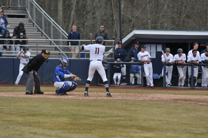 Sophomore Chris Winkel (11) at the plate over the weekend (Jon Sammis/The Daily Campus)