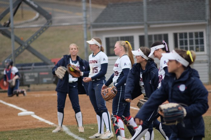 UConn Softball's home opener came off to a rough start against Wichita State on Thursday, Mar. 29. The Huskies were trounced 11-3, losing to the Shockers (Jon Sammis/The Daily Campus)