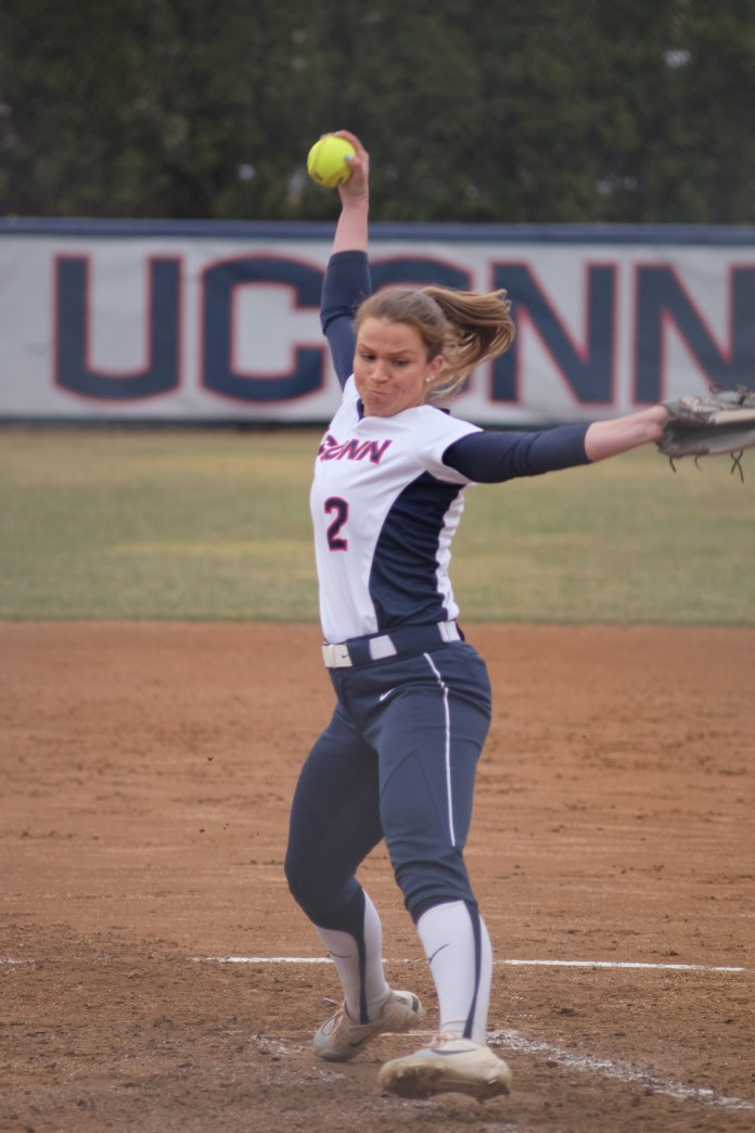 UConn ace Jill Stockley mid delivery from this weekend's games (Jon Sammis/The Daily Campus)