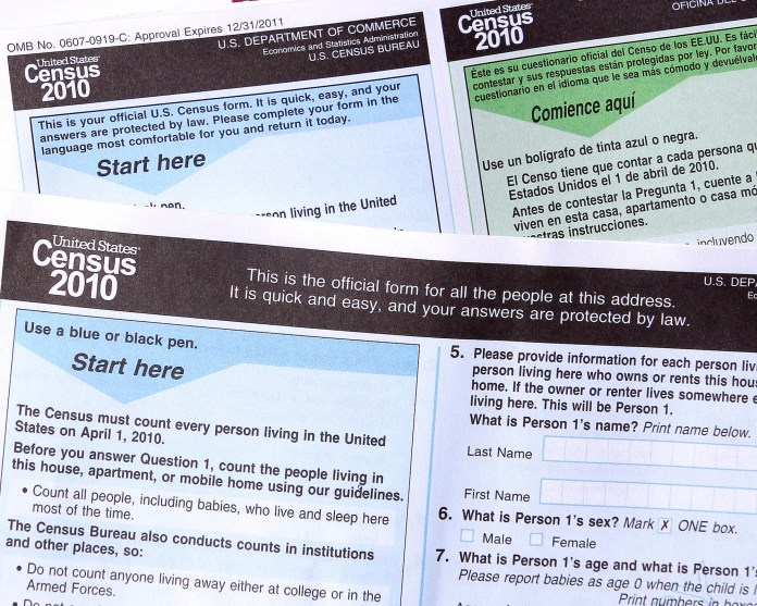 In this March 15, 2010, file photo, copies of the 2010 Census forms in Phoenix. The 2020 U.S. Census will add a question about citizenship status, a move that brought swift condemnation from Democrats who said it would intimidate immigrants and discourage them from participating. (AP Photo/Ross D. Franklin, File)