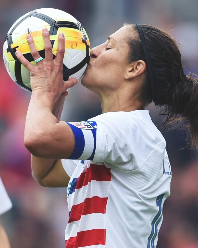 Lloyd's resume is pretty impressive. She's a two-time FIFA Women's Player of the Year and scored the fastest hat trick in World Cup history. (Twitter/@ussoccer_wnt)