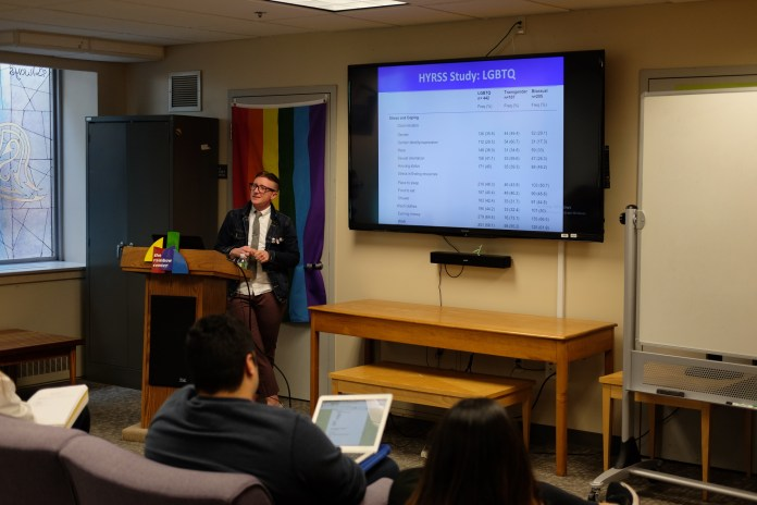 In another set of Out to Lunch speakers, Jama Shelton speaks about the LGBT Youth Homelessness on Wednesday, Apr. 11. In this lecture, Jama speaks about the disparities that come with LGBTQ youth culture, as well as youth homelessness. (Jon Sammis/The Daily Campus)