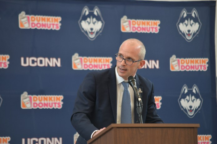 Dan Hurley, pictured at his introductory press conference, is starting to fill UConn's vacant roster spots (Amar Batra/The Daily Campus)
