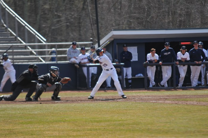 The UConn Huskies tied with Bryant University 9-9. The game ended short due to darkness. Huskies Baseball's next home game at J.O. Christian Field is on 4/25 against Rhode Island. (Eric Wang/The Daily Campus)