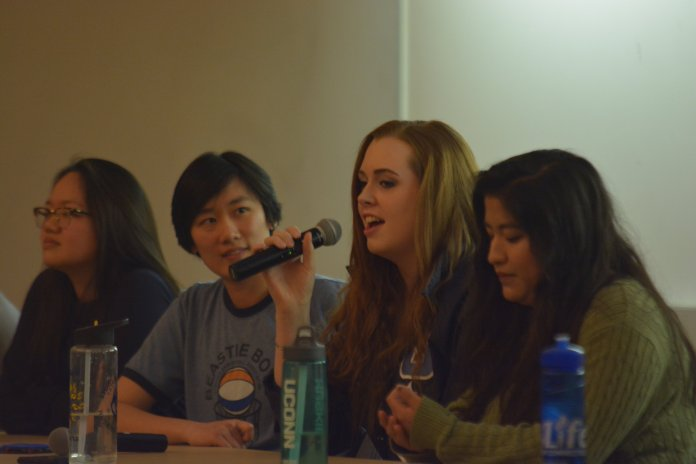 Theta Delta Sigma Society present Representation in Media, a discussion on empowerment Wednesday night. Students discuss what equal representation of different people's means to them as part of Theta Week. (Nick Hampton/The Daily Campus)