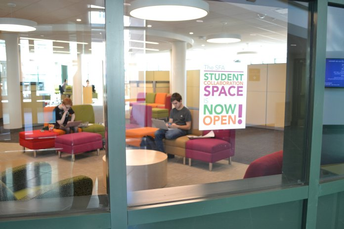 The music library has just opened it's new study space, called The SFA Student Collaboration Space. (Olivia Stenger/The Daily Campus)