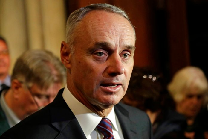 Major League Baseball Commissioner Rob Manfred speaks after a memorial mass for New York Mets Hall of Famer Rusty Staub at St. Patrick's Cathedral, Wednesday, April 25, 2018, in New York. (AP Photo/Frank Franklin II)