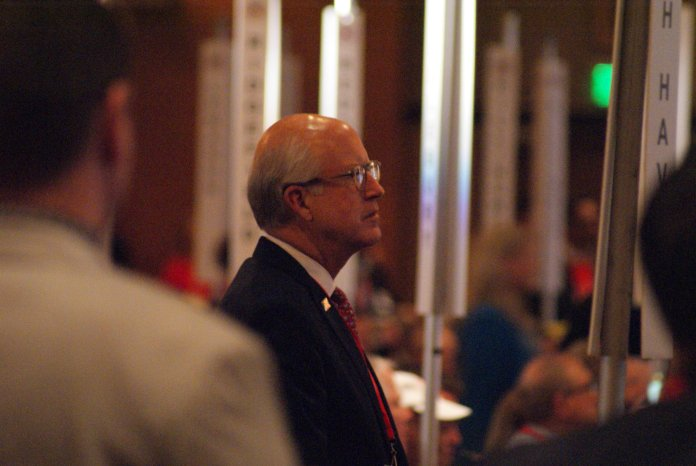 Dave Walker watches in disbelief as his candidacy comes to an end following weak support for him in the nomination vote for governor.