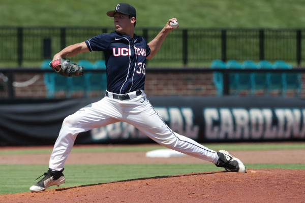 Tim Cate came in relief and pitched strong as UConn Baseball fought to live another day in the NCAA Tournament Conway Regional (UConn Athletics)
