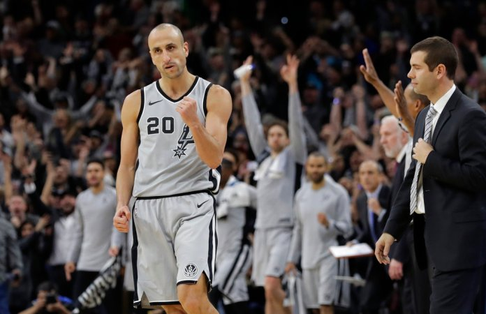 FILE - In this Dec. 8, 2017, file photo, San Antonio Spurs guard Manu Ginobili (20) pumps his fist after hitting the winning shot in the final seconds of the team's NBA basketball game against the Boston Celtics, in San Antonio.(AP Photo/Eric Gay, File)