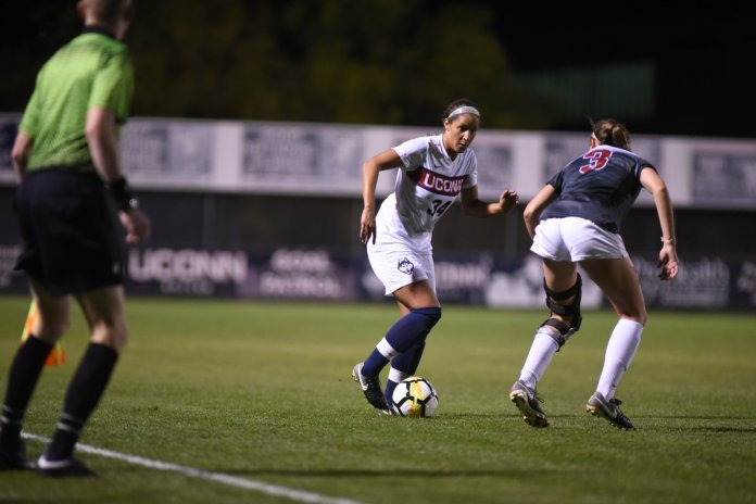 The Women's Soccer team defeated Arkansas 2-1 in overtime. Alexa Casimiro and Kess Elmore scored for the Huskies. (Charlotte Lao/The Daily Campus)