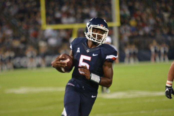 Quarterback David Pindell appeared as a lone bright spot on a bleak Thursday loss to UCF (Eric Wang/The Daily Campus)
