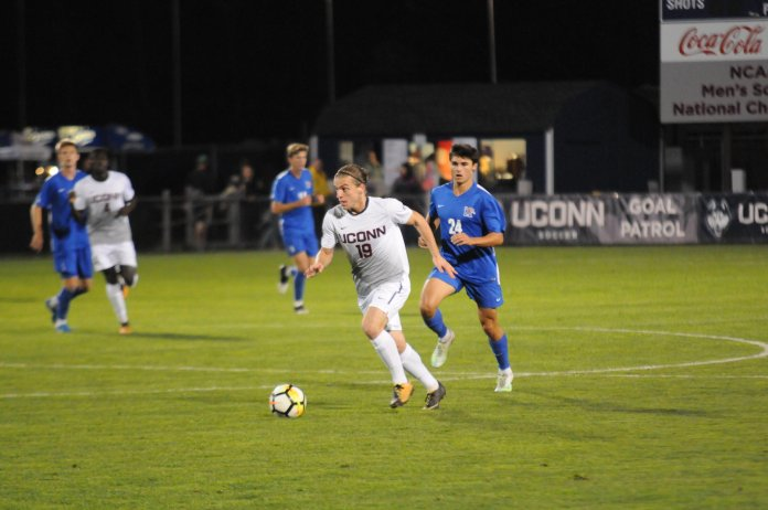 The Men's Soccer team face off against the Memphis Tigers for Senior Night on Saturday Oct. 28. Although UConn outshot the Tigers 16-12, the Huskies came up short, losing 2-1. (File Photo/The Daily Campus)